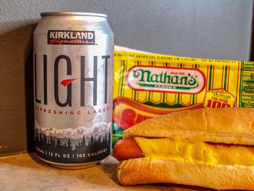 Beer Press #2: Kirkland Light + Nathan's Hot Dog (Fourth of July Edition)