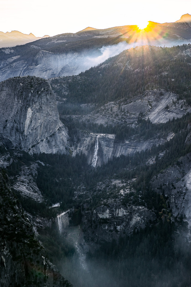 Sunrise Over Vernal and Nevada Falls