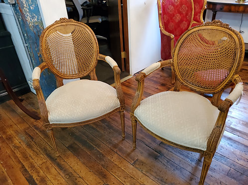 Pair Fairfield Carved Caned Arm Chairs