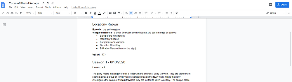 Image of a living recaps document example