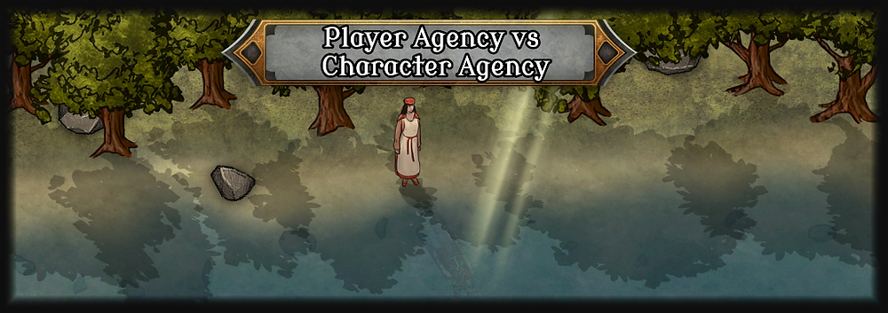 Cover art for blog post title. It features a woman standing before a lake. Her reflection is an adventurer. She is the player and her reflection the character.