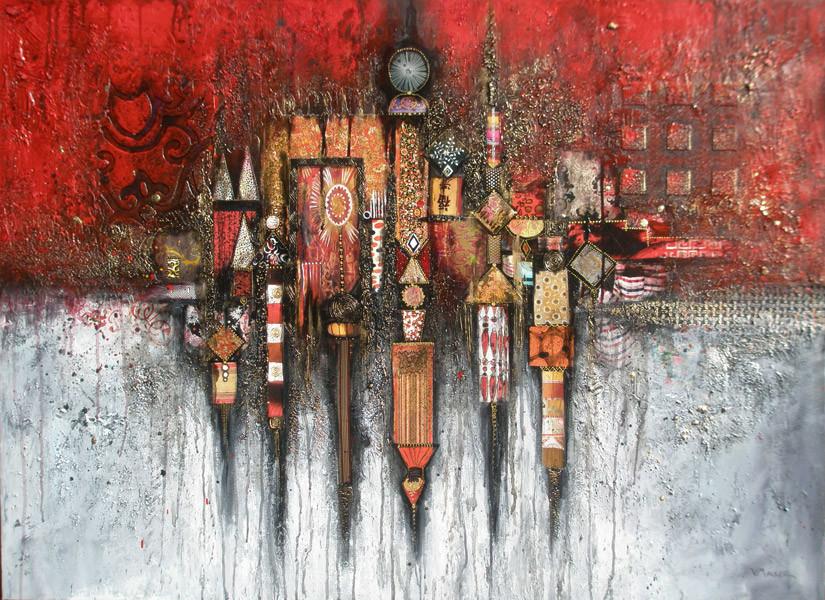 Fragment rouge et gris - 100 x 73