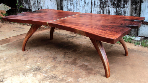 These two sisters plank from a Mahogany log made for a huge dining table which is now enjoying its life in Bangalore