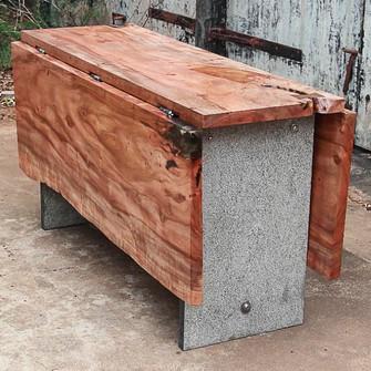 Folded wood on metal legs