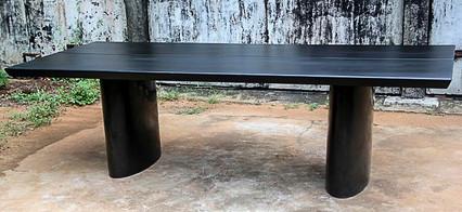 8 seaters dining table in Black Burnt Wood on Black Granite legs, very slick and elegant