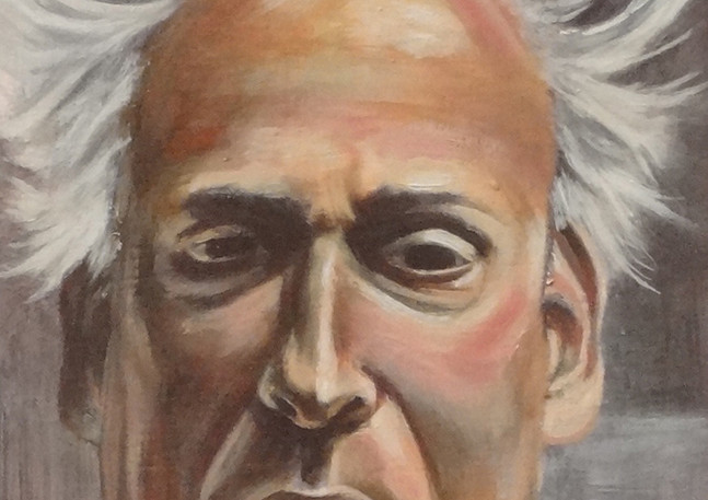 """Man with Silver Hair  Oil on wood panel 7"""" x 5"""" 2016"""