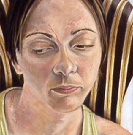 """Memory Lapse; Pin-Striped Chair  Oil and egg emulsion on linen 12"""" x 7.5"""" 2003"""