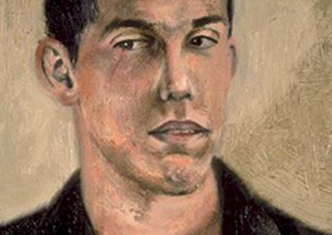 """Portrait d'un Photographe avec une Égratignure à l'Œil  Oil and egg emulsion on linen 9"""" x 7"""" 2001"""