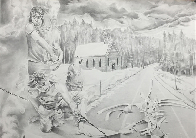 When All Else Fails; Smoke Them Out  Graphite and charcoal on paper 31 in x 40 in 2015
