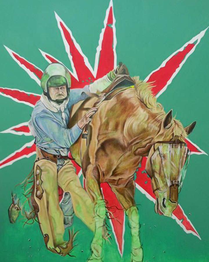 "Caballo Sin Nombre  Oil and vinyl on linen 96"" x 60"" 2014"