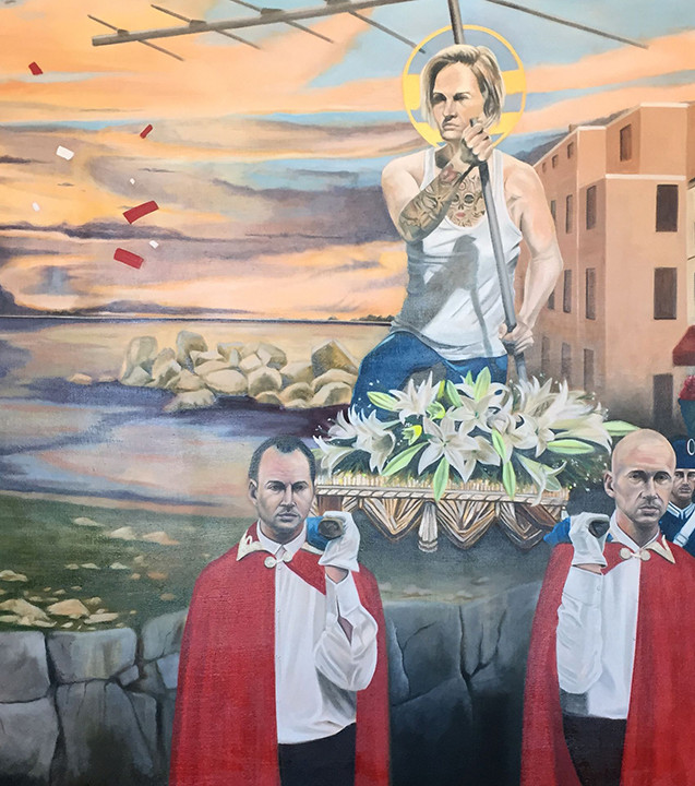 """The Procession of Jubilation in The Lost City of Janus  Oil on linen 60"""" x 96"""" 2017"""