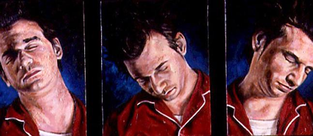 "The Sleepwalker series  Oil and egg emulsion on wood panel 9"" x 24"" 2002"