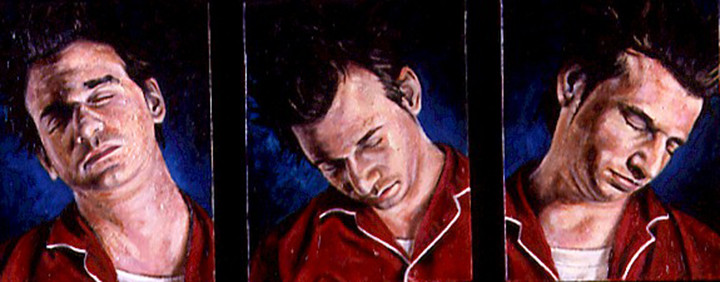 "The Sleepwalker series  Oil and egg emulsion on wood panel 9"" x 24"" 2002"