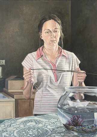 """The Dangerous Games Involved with Water-Witching  Oil and egg emulsion on linen 30"""" x 24"""" 2004"""