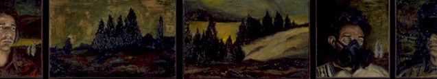 """The Search for the Sites to be Excavated Before the New York City Black Out  Oil and egg emulsion on linen 16"""" x 85"""" 1997-1998"""