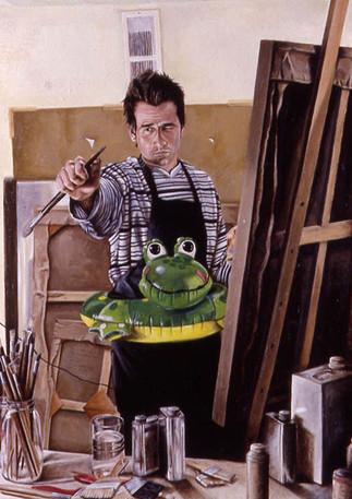 "Portrait of a Modern Age Hero  Oil and egg emulsion on linen 40"" x 30"" 2003"