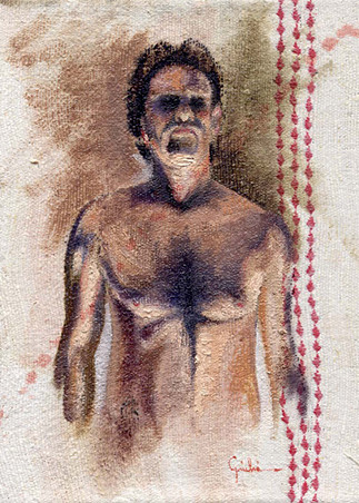 "Chiaroscuro Studies  Mixed media on broidered linen 9"" x 14"" 2004"