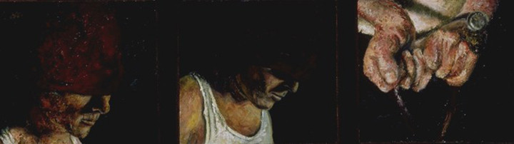 """The Excavations during the New York City Black Out  Oil and egg emulsion on linen 12"""" x 39"""" 1998"""