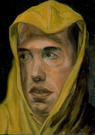 """Portrait #2, un homme, un dirigeable, un imperméable et une valise  Oil and egg emulsion on wood panel 7"""" x 5"""" 2002"""