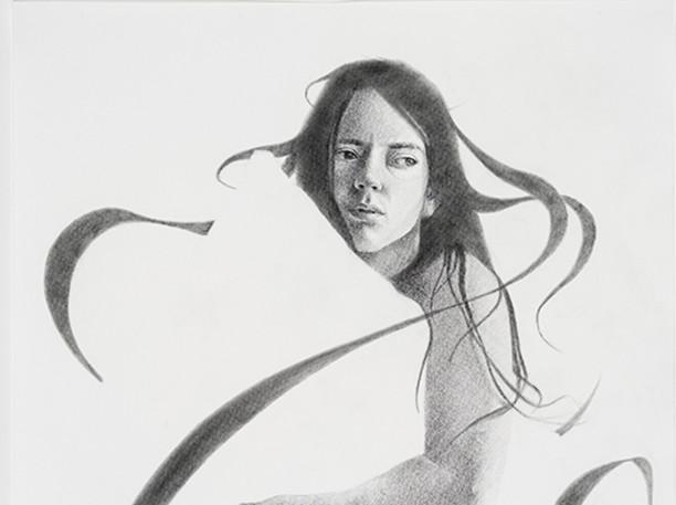 """La tisserande de rêve  Graphite on paper 25.5"""" x 19.5"""" 2021"""