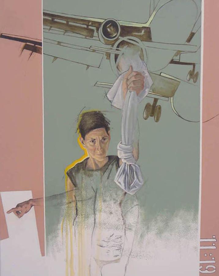 """Le labyrinth et la boussole  Mixed media on canvas 60"""" x 40"""" 2012"""