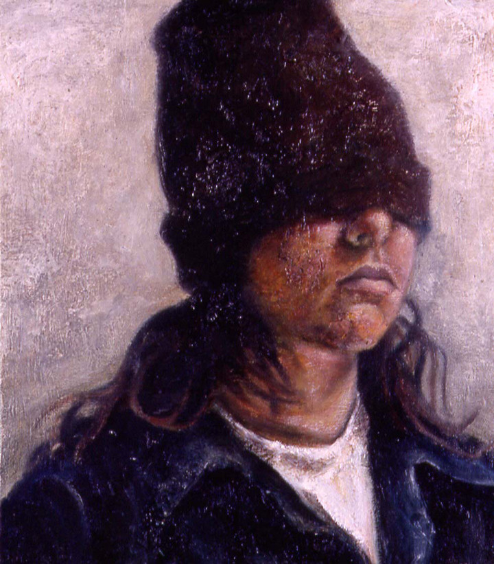 """Flashpoint is Less than or Equal to -21 Degree Celsius  Oil and egg emulsion on linen 12.5"""" x 11"""" 1999"""