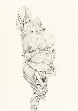 Code Blue; Wrapped Tree I  Graphite on paper 60 in x 40 in 2017