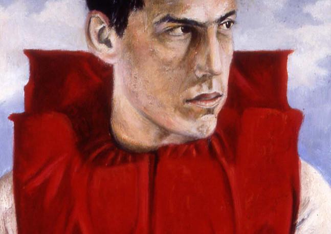 """Portrait d'un Agoraphobe avec Gilet de Sauvetage  Oil and egg emulsion on linen 15.5"""" x 10.25"""" 2001"""