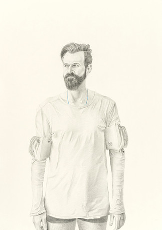 Code Blue; Self-Portrait  Graphite and dry pastel on paper 60 in x 40 in 2018