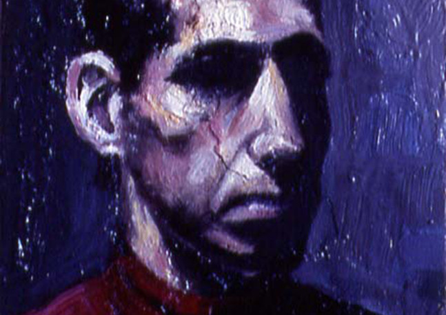 """Head Study IV  Oil and egg emulsion on wood panel 7"""" x 5"""" 2002"""