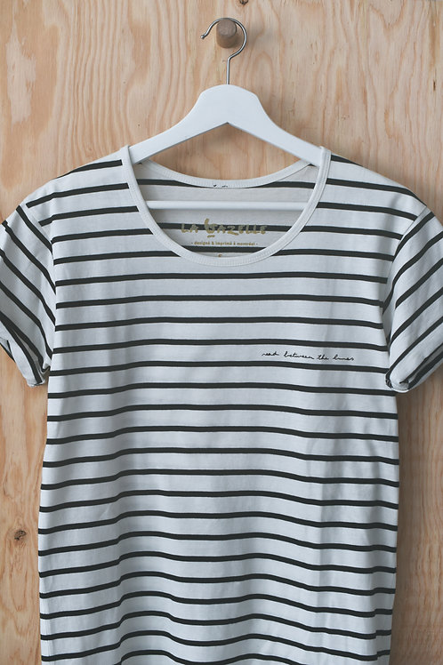 """T-shirt rayé """"READ BETWEEN THE LINES"""""""