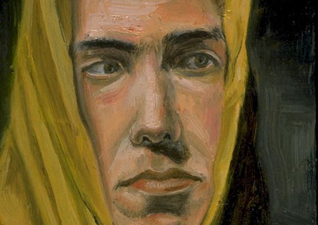 """Portrait #1, un homme, un dirigeable, un imperméable et une valise  Oil and egg emulsion on wood panel 7"""" x 5"""" 2002"""