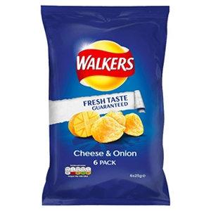 Walkers 6pk Cheese & Onion Crisps