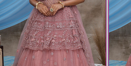 Pretty Heavy Embriodery Dusty Pink  Colored  Designer Lehenga Choli Set