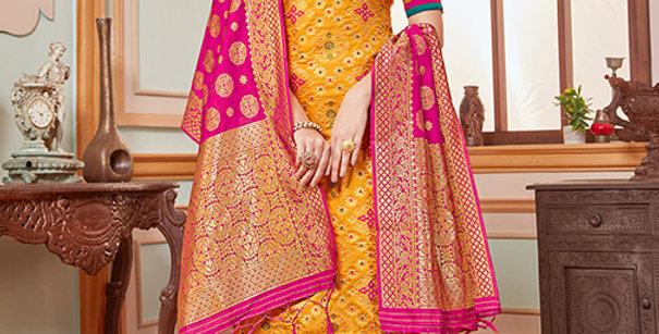 Elegant Looking Silk Based Mustard Yellow Color Straight Salwar Suit