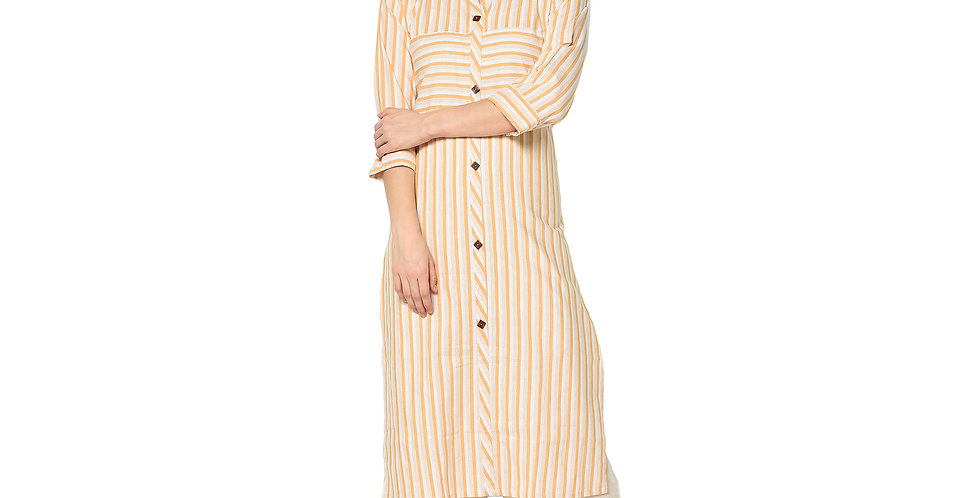 Readymade Straight Kurti In Off-White Color Fabricated On Cotton