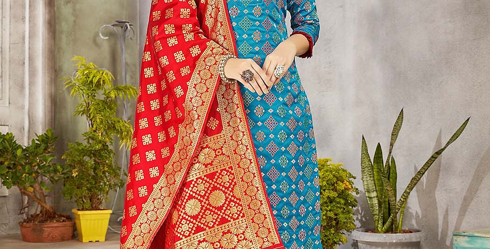 Festive Season Wearing this Designer Blue and Red Color Straight Suit