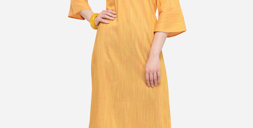 Readymade Straight Kurti In Musturd Color Fabricated On Cotton