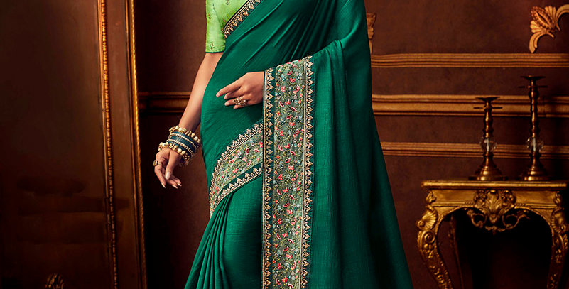 Beautiful Designer Saree Teal Green Color Paired With Light Green Colored Blouse