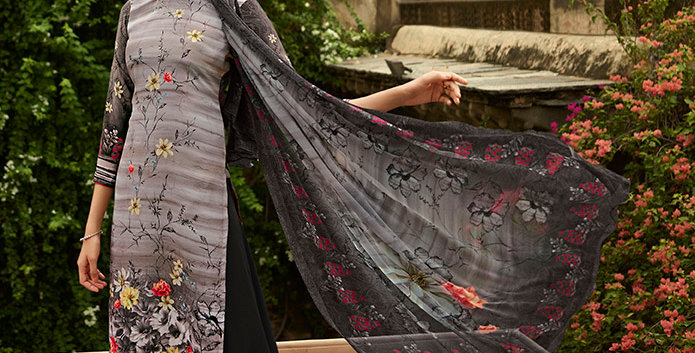 Pretty Causal Wear Grey Color Straight  Salwar Suit  Dress Material