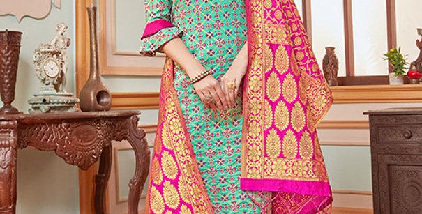 Elegant Looking Silk Based Turquoise Blue Straight Salwar Suit