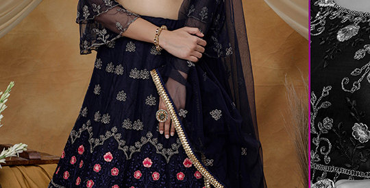 Pretty Heavy Embriodery  Navy Blue Colored  Designer Lehenga Choli Set