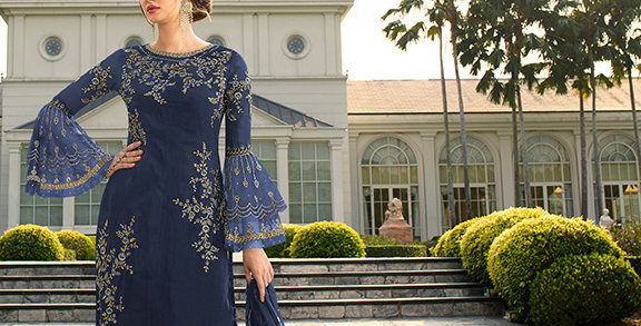 Here Is A Pretty Heavy Designer  Navy Blue Color Straight Salwar Suit