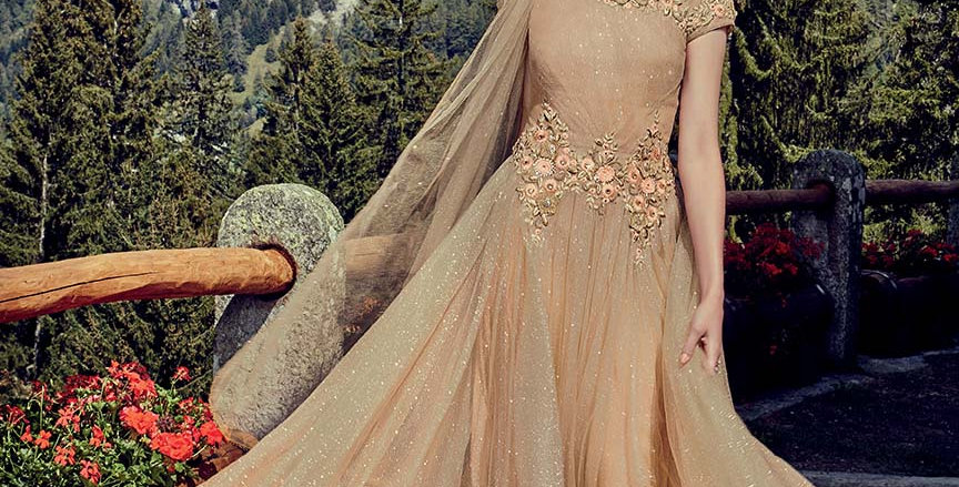 Festive Season Wearing This Designer  Beige Color Readymade Gown