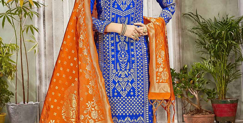 Festive Season Wearing this Designer Royal Blue and Orange Color Straight Suit