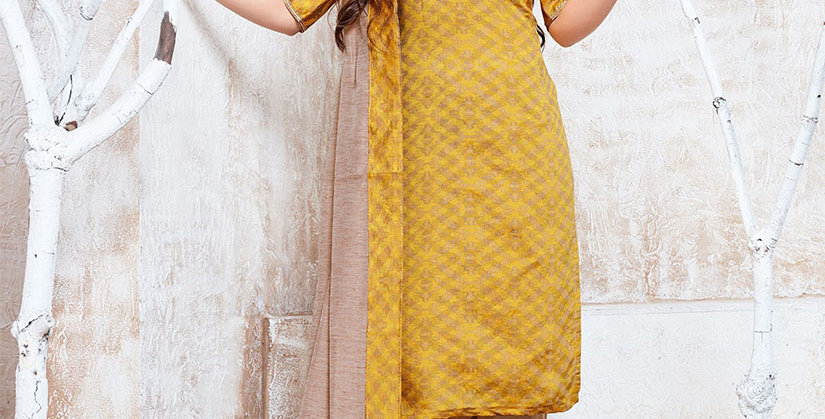 Hera is A  Pretty Designer Mustard Yellow and Beige Color  Straight Salwar Suit