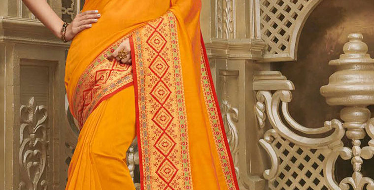 Pretty Elegant Orange Color Paired With Contrasting Red  Colored Blouse