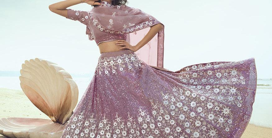 Pretty Heavy Embriodery Lilac Colored  Designer Lehenga Choli Set