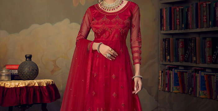 Grab This Very Beautiful Heavy Designer Red Color Sharara Suit