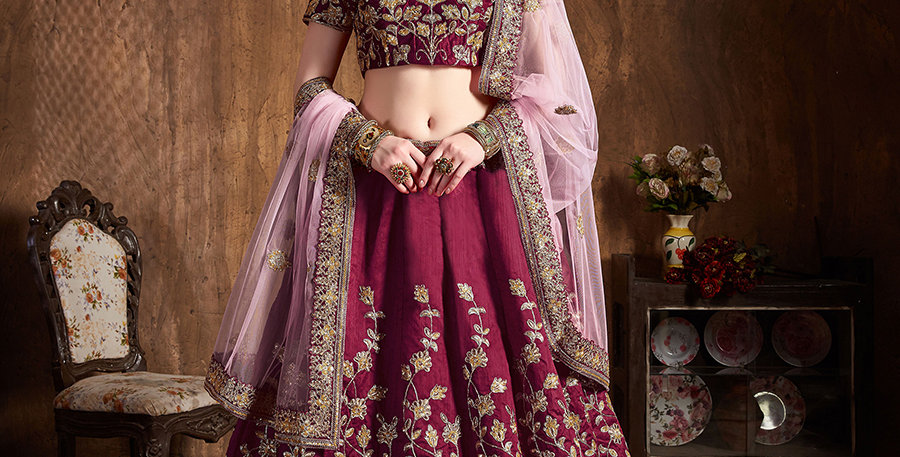 Pretty Heavy Embriodery Maroon Colored  Designer Lehenga Choli Set